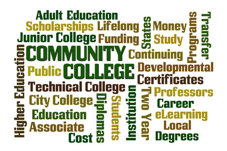 public transfer: Community College word cloud on white background