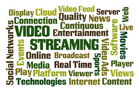 Video Streaming word cloud on white background