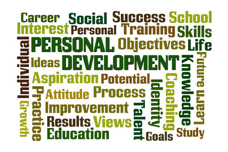 Personal Development word cloud on white background Stock Photo