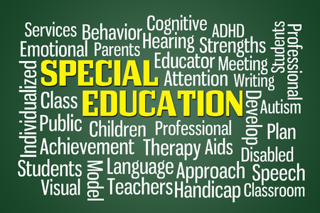 Special Education word cloud on Green Background