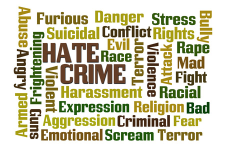 crime: Hate Crime word cloud on white background.
