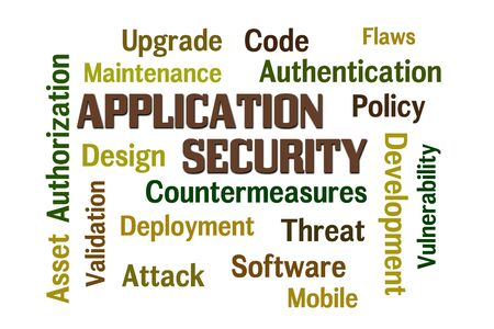 countermeasures: Application Security word cloud with white background