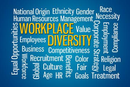 gestion empresarial: Lugar de trabajo Diversidad nube de palabras en el fondo azul