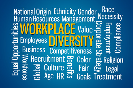 Workplace Diversity word cloud on Blue Background Archivio Fotografico