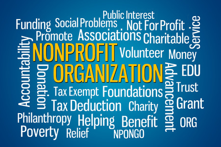 poverty relief: Nonprofit Organization word cloud on Blue Background Stock Photo