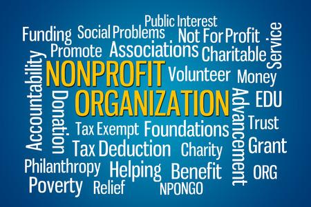 edu: Nonprofit Organization word cloud on Blue Background Stock Photo