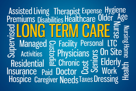 premiums: Long Term Care word cloud on Blue Background