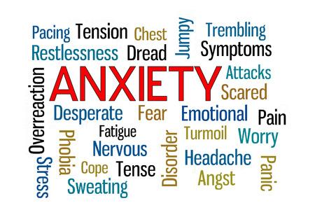 Anxiety word cloud on white background 版權商用圖片