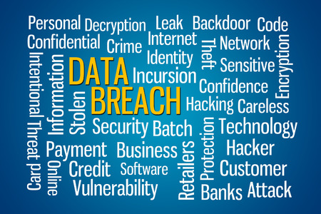 breach: Data Breach word cloud on Blue Background