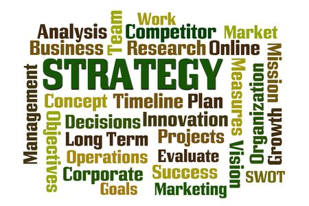 long term goal: Strategy word cloud on white background Stock Photo