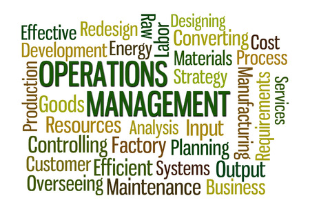 redesign: Operations Management word cloud on white background