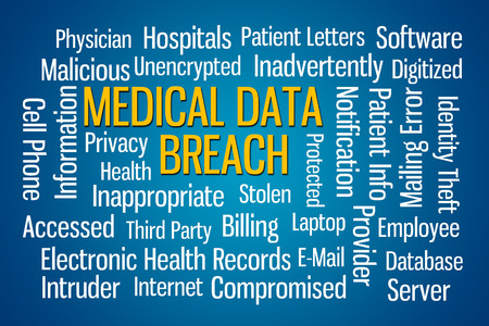 Medical Data Breach word cloud on blue background Stock Photo