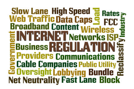 neutrality: Internet Regulation word cloud with white background