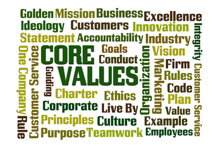 golden rule: Core Values word cloud on white background Stock Photo