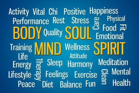 mind body: Body Mind Soul Spirit word cloud on blue background