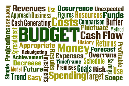 occurrence: Budget word cloud on white background Stock Photo