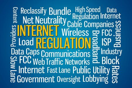 neutrality: Internet Regulation word cloud with blue background