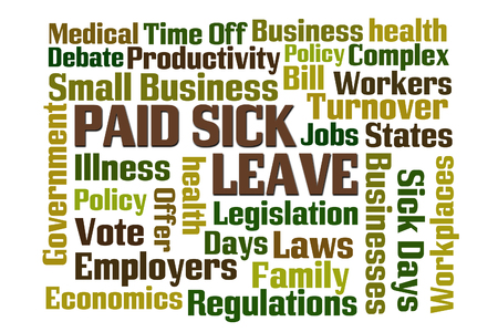 sick day: Paid Sick Leave word cloud with white background Stock Photo