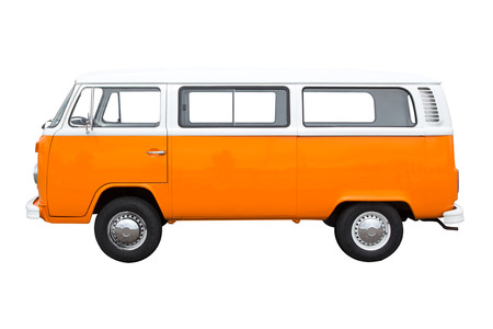 Classic vintage van isolated on white Editorial