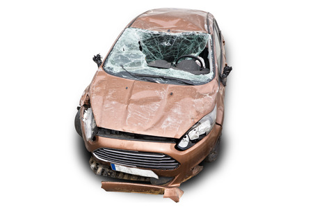auto repair: Wreck Car on white background