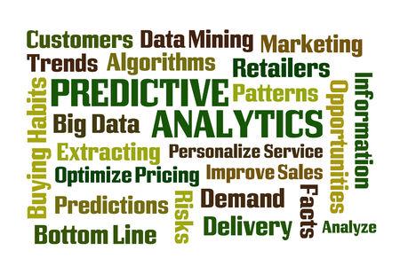 predictive: Predictive Analytics word cloud on white background Stock Photo