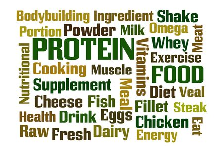 Protein word cloud on white background photo