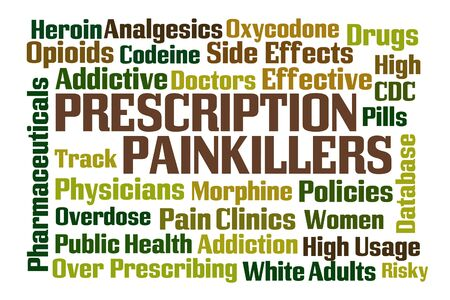 analgesics: Prescription Painkillers word cloud with white background