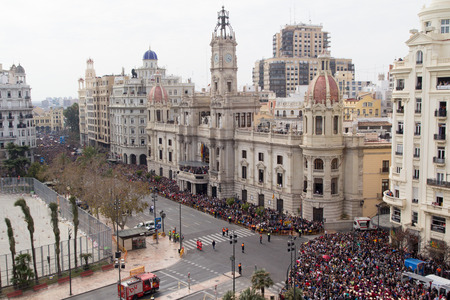 VALENCIA, SPAIN - MARCH 8, 2015: The city Hall Building just before the celebration of the Mascleta in the Ayuntamiento Plaza.