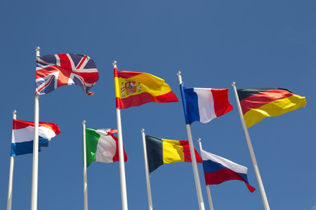 belgium flag: International Flags with blue sky.
