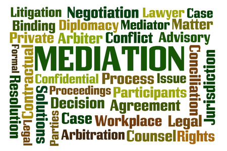 mediator: Mediation word cloud on white background