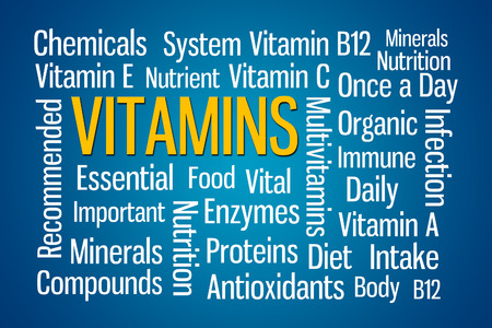 e systems: Vitamins word cloud on blue background Stock Photo