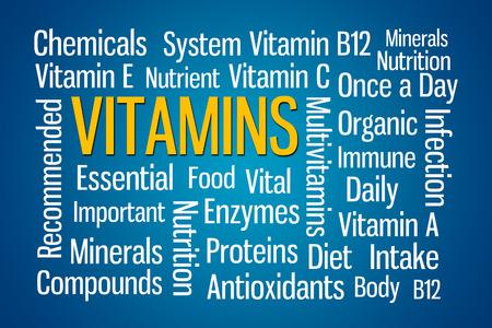 Vitamins word cloud on blue background Stock fotó