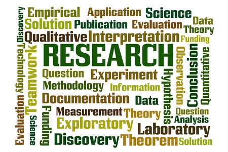 exploratory: Research word cloud on white background Stock Photo