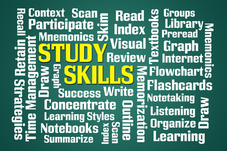 retain: Study Skills word cloud on green background