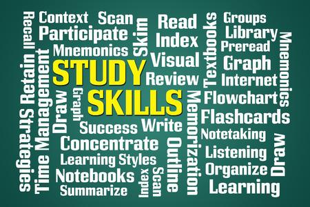 skim: Study Skills word cloud on green background