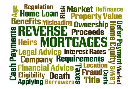 reverse: Reverse Mortgages word cloud on white background Stock Photo