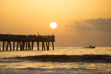Jacksonville Beach, Florida Fishing Pier in early morning. Stock Photo