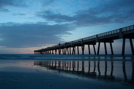 jacksonville: Jacksonville Beach Pier in early morning. Stock Photo