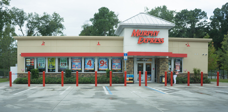 retail store: JACKSONVILLE, FLORIDA, USA - AUGUST 2, 2015: A Murphy Express gas station store in Jacksonville. Murphy Express, a subsidiary of Murphy Oil Corporation, operates retail gasoline stations across 23 states.