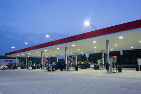 JACKSONVILLE, FLORIDA, USA - AUGUST 6, 2015: A Gate Petroleum gas station in early morning. Gate Petroleum is headquartered in Jacksonville and has over 225 gas stations in six states with over 2,200 employees.