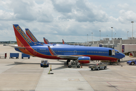 ATLANTA, GEORGIA-AUGUST 20, 2015: A Southwest Boeing 737-3H4 airplane at the Atlanta International Airport. Southwest Airlines operates more than 3,400 flights per day.