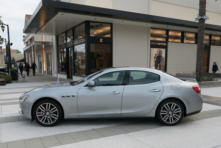 liter: JACKSONVILLE, FL-AUGUST 27, 2015: A 2015 Maserati Ghibli on display in Jacksonville. The Ghibli has a 345-hp, twin turbo 3.0 liter, V-6 engine and rear wheel drive. Editorial