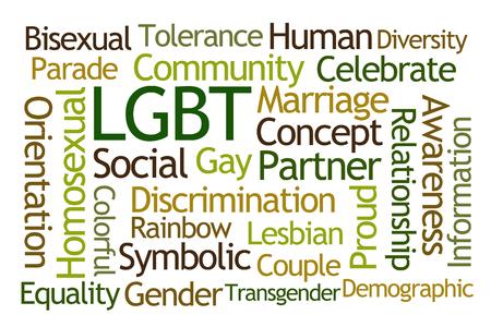 boda gay: LGBT nube de la palabra en el fondo blanco