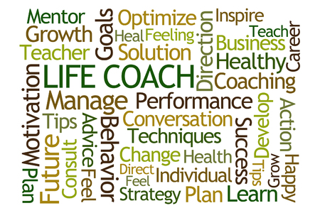 coaching: Life Coach Word Cloud on White Background