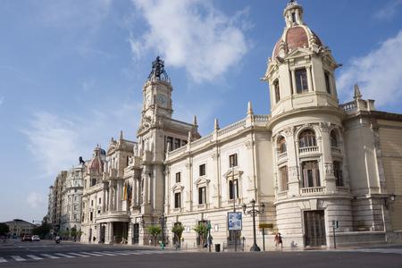 VALENCIA, SPAIN - SEPTEMBER 12, 2015:  View of Placa del Ajuntament - the city hall building of Valencia. Valencia is the capital of the autonomous community of Valencia and the third largest city in Spain.