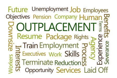 severance: Outplacement Word Cloud on White Background