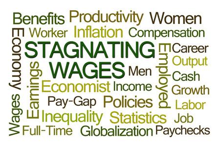 salarios: El estancamiento de los salarios Nube de la palabra en el fondo blanco
