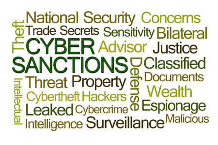 cyber defence: Cyber Sanctions Word Cloud on White Background Stock Photo