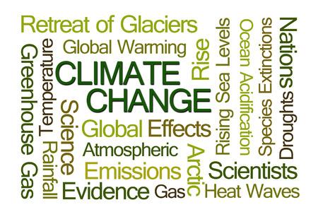 白い背景の上の気候変更単語の雲