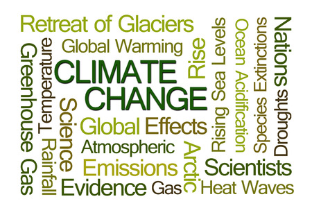 climate change: Climate Change Word Cloud on White Background